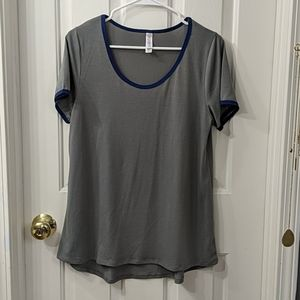 Lularoe classic tee gray with navy blue trim